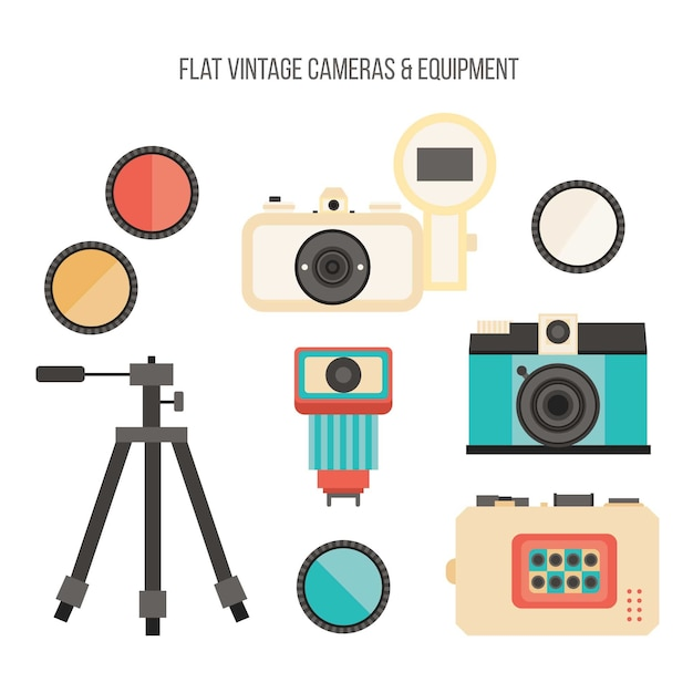 Flat vintage photography equipment set
