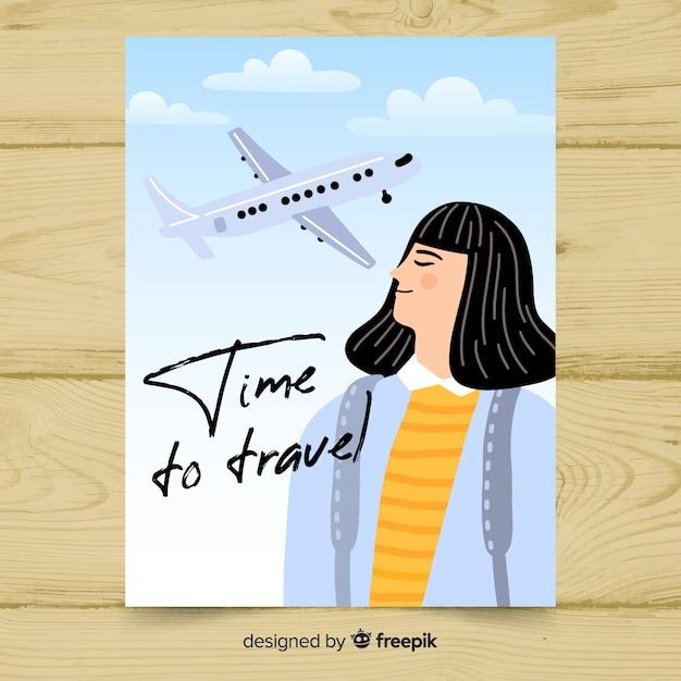 Flat vintage promotional travel poster Free Vector