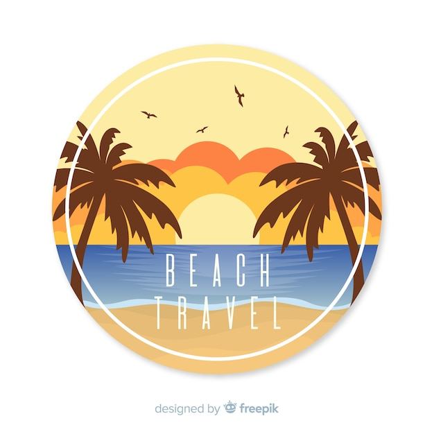 Flat vintage travel background Free Vector