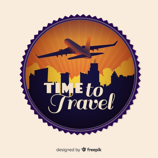 Flat vintage travel label background Free Vector