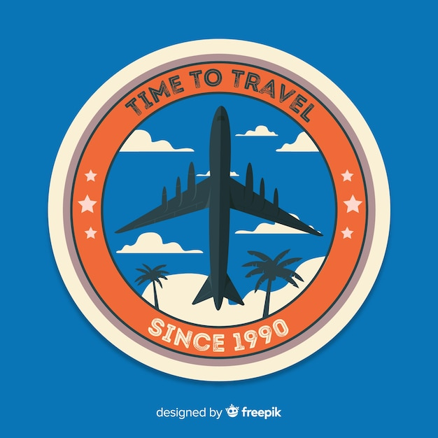 Flat vintage travel label badge Free Vector