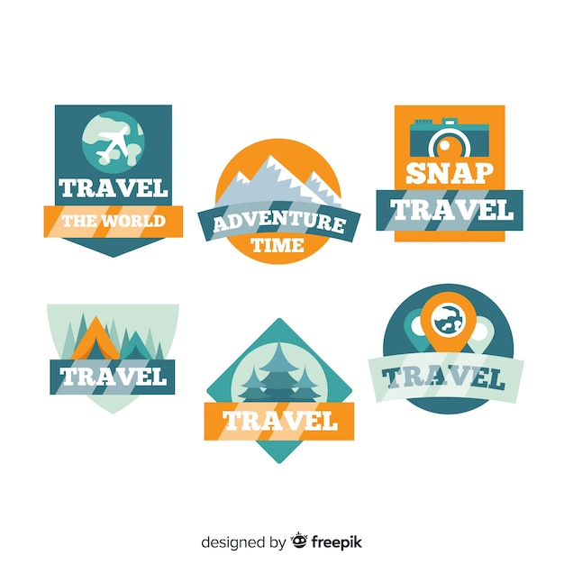 Flat vintage travel label collection Free Vector