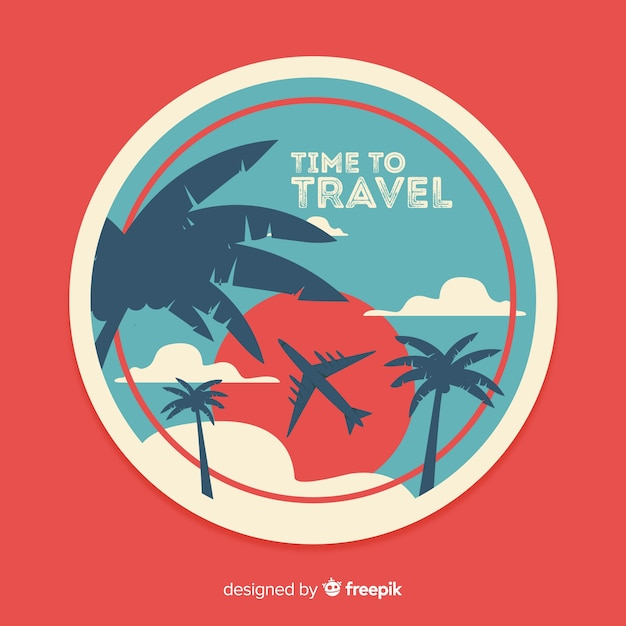 Flat vintage travel label with palms and sun Free Vector