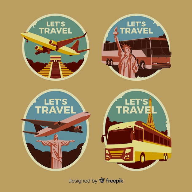 Flat vintage travel logo collection Free Vector