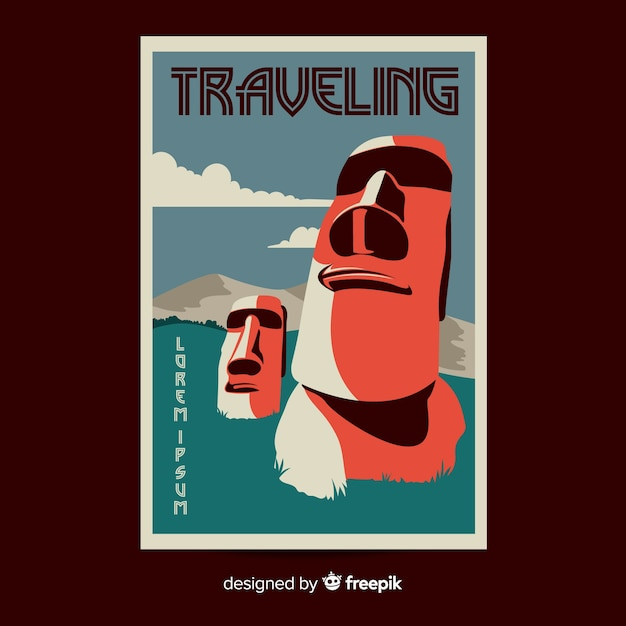 Flat vintage travel poster template Free Vector
