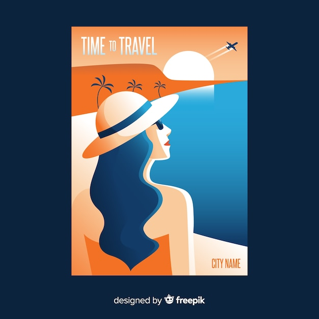 Flat vintage travel poster with beach Free Vector