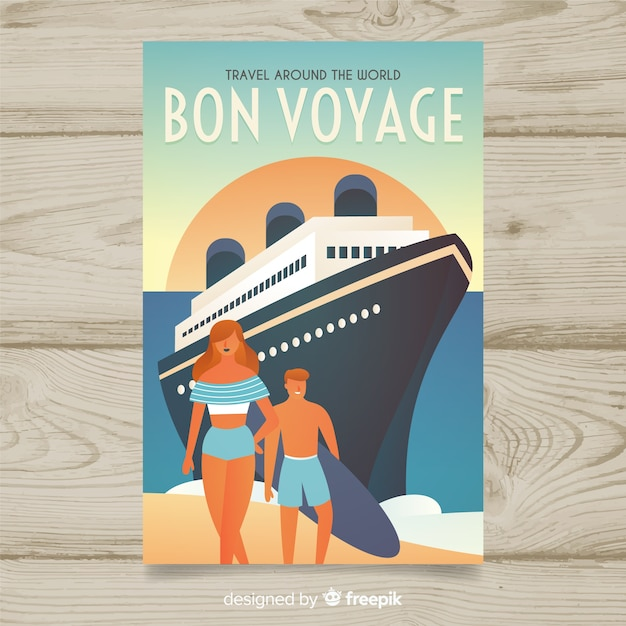 Flat vintage travel poster with a cruise Free Vector