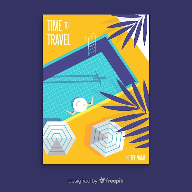 Flat vintage travel poster with pool Free Vector