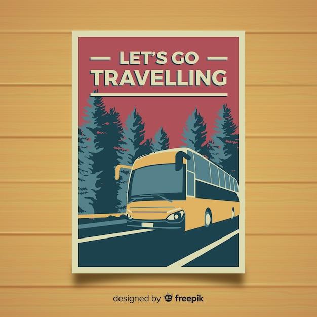 Flat vintage travel poster Free Vector