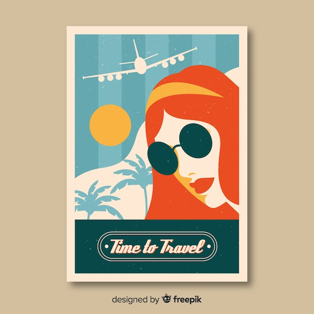 Flat vintage traveling poster Free Vector