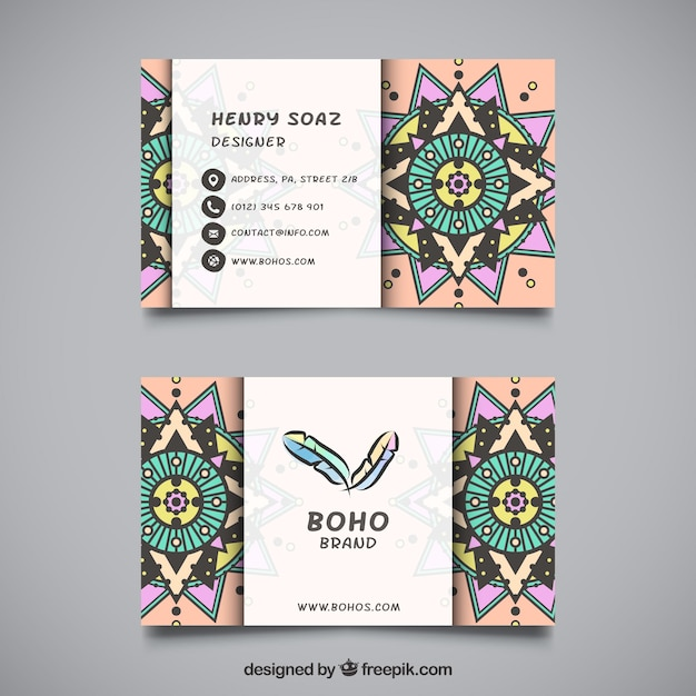 flat visiting card with ornamental decoration vector