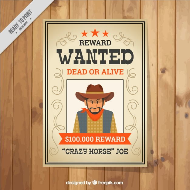 Flat wanted poster with orange details Vector – Wanted Poster Free