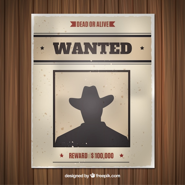 Flat wanted poster with silhouette Free Vector