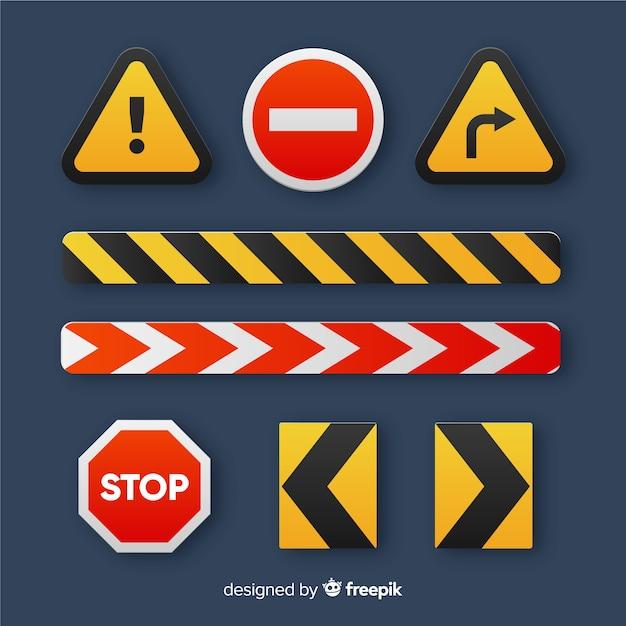 Плоские предупреждение строительство знак фон Бесплатные векторы
