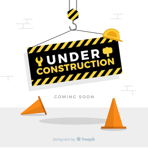 Flat warning construction sign background Free Vector