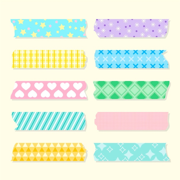 Flat washi tape collection Free Vector