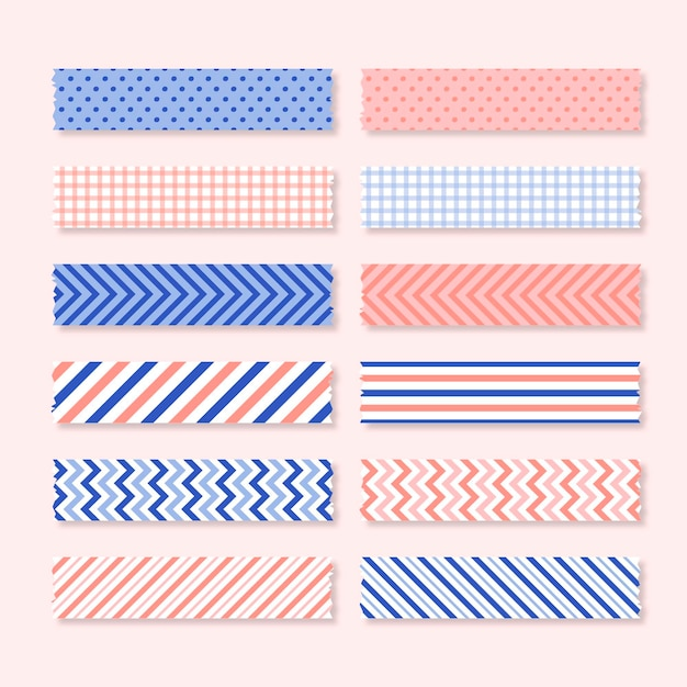 Flat washi tape set Premium Vector