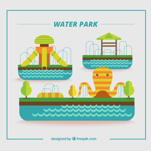 Flat water park with attractions