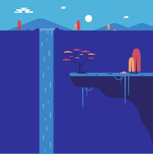 Flat waterfall with cliff Premium Vector