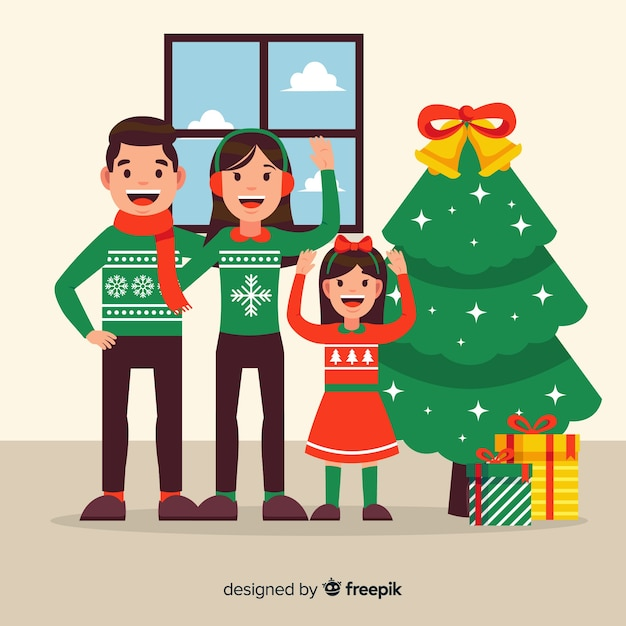 Flat waving family inside christmas background Free Vector