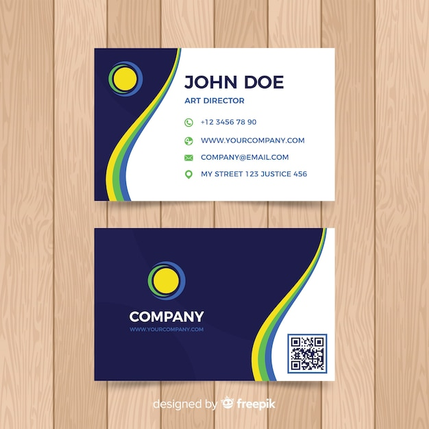 Flat wavy business card template Free Vector