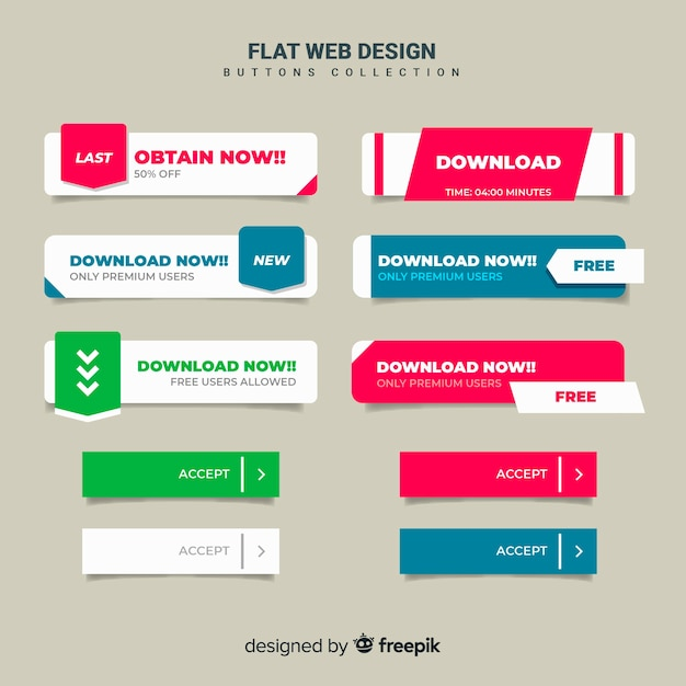 Flat web button collection Free Vector