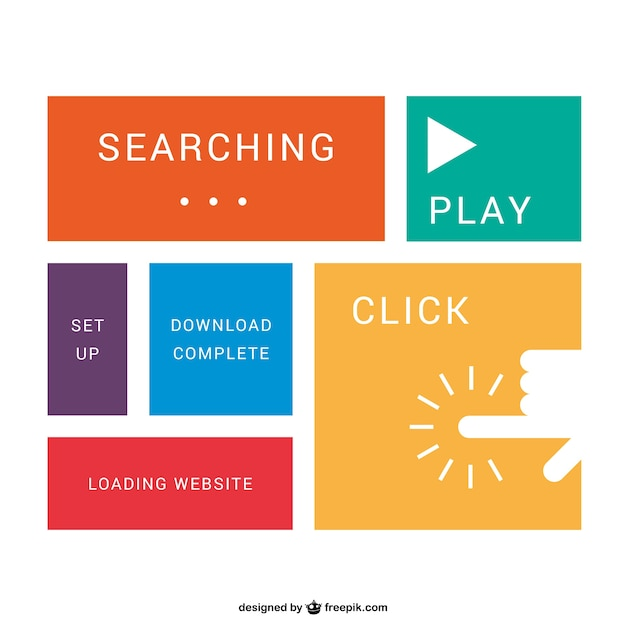 Flat Web Buttons Vector Free Download - Complete website templates free download