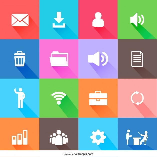 Flat web elements icons Free Vector