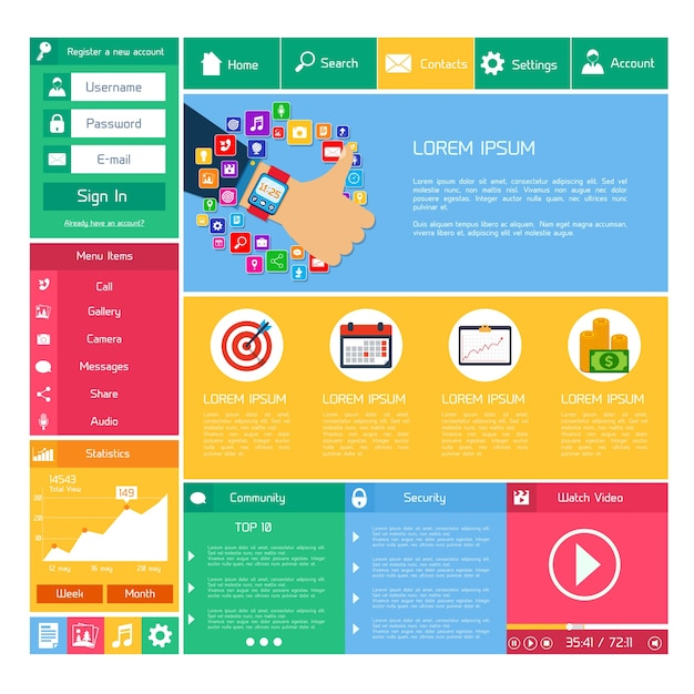 flat website design template internet and applications layout
