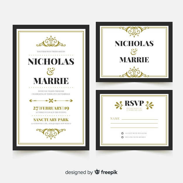 Flat wedding card template Free Vector