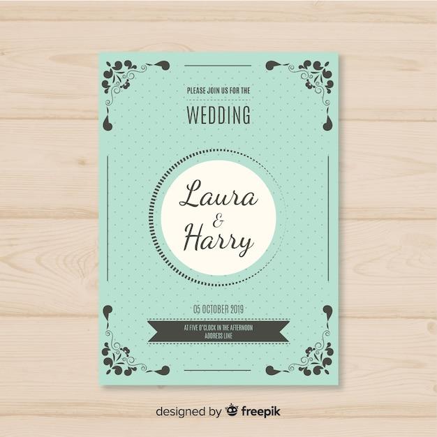 Flat wedding card template Free Vector