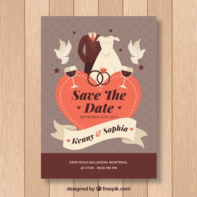Flat wedding card with lovely style