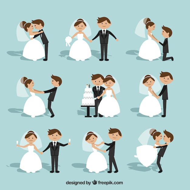 Flat Wedding Couple Collection Premium Vector