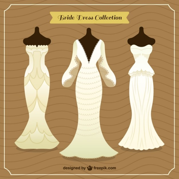 Flat wedding dresses collection design Free Vector
