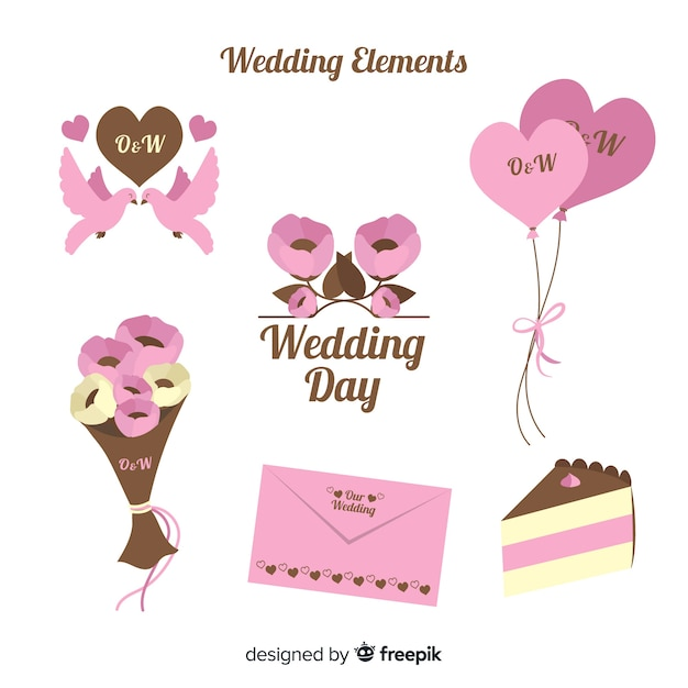 Flat wedding element collection Free Vector