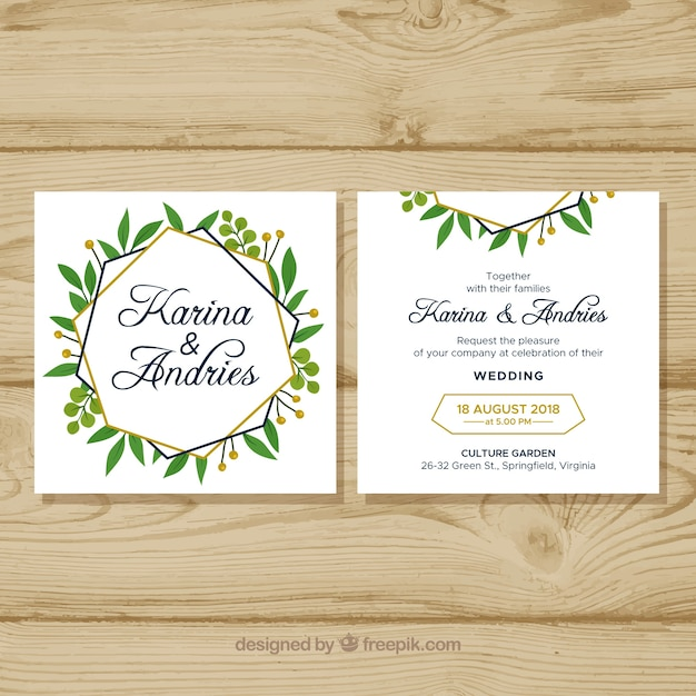 Flat Wedding Invitations: Flat Wedding Invitation Template Wit Floral Style Vector