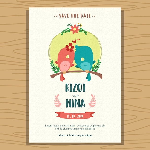 Flat Wedding Invitation Template With Cute Cartoon Lovebird Vector
