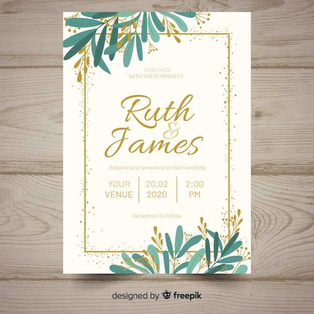 Flat wedding invitation template Free Vector