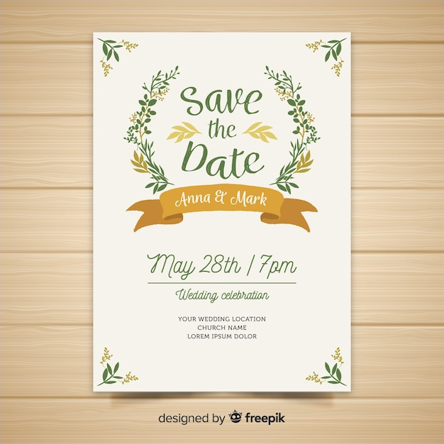 Flat wedding invitation template Free Vector