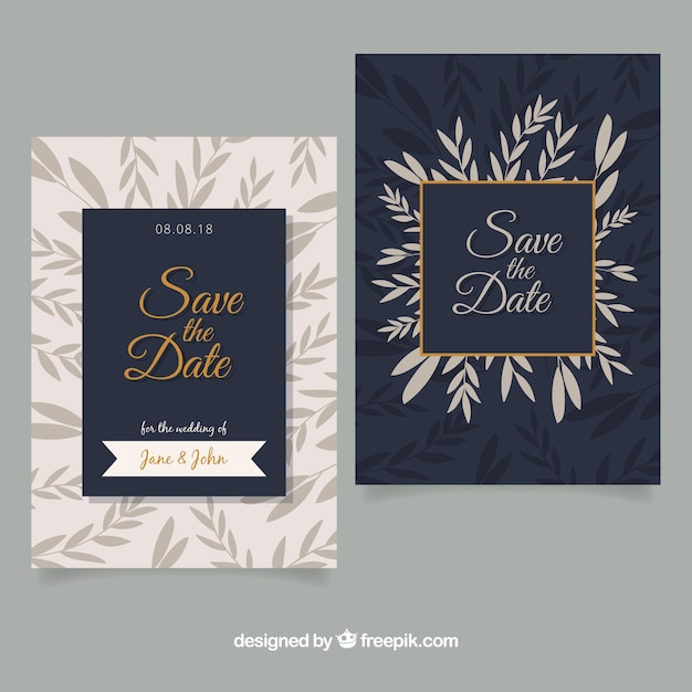 Flat Wedding Invitations: Flat Wedding Invitation With Elegant Style Vector