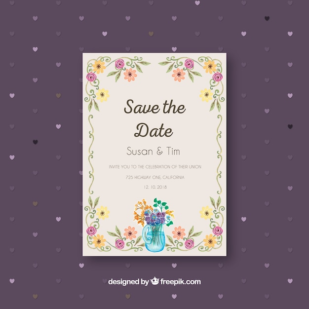 Download vector flat floral wedding card with circular design flat wedding invitation with floral frame stopboris Choice Image