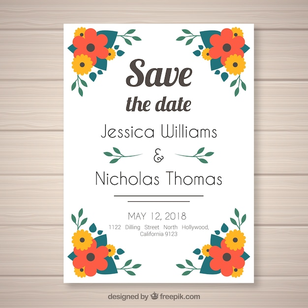 Flat wedding invitation with floral style Free Vector