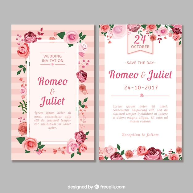 Flat wedding invitation with roses Vector Free Download