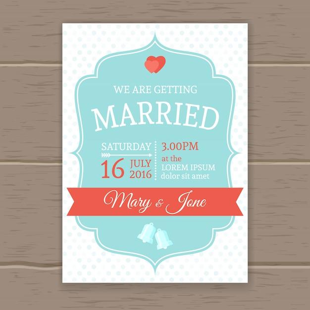 平らな結婚式の招待状 無料ベクター