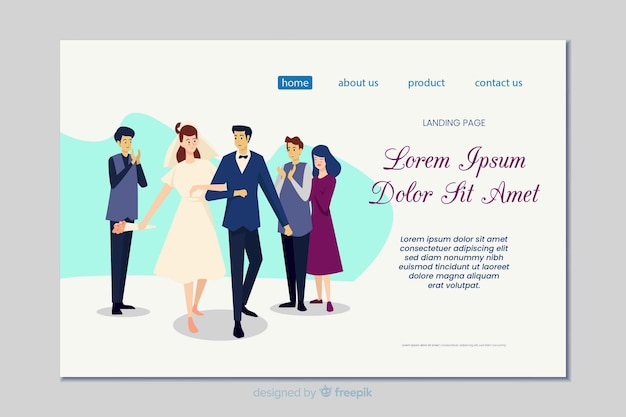 Flat wedding landing page template Free Vector