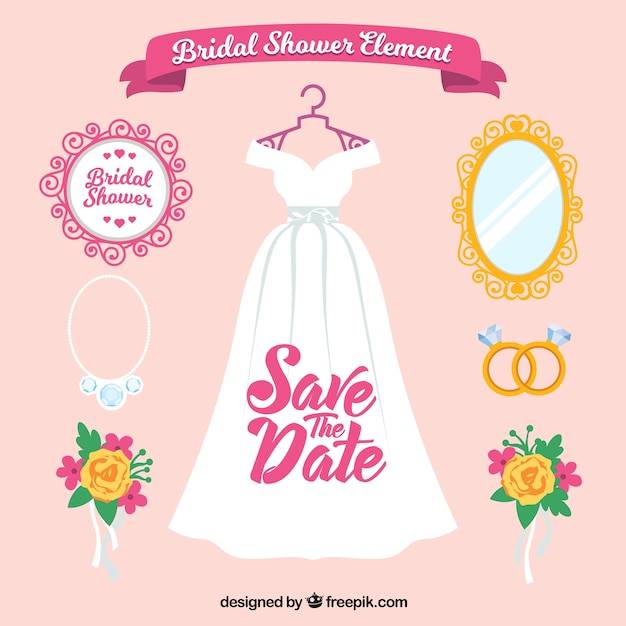 Flat wedding pack of female accessories Free Vector
