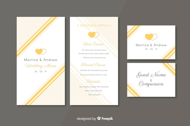 Flat wedding stationery template collection Free Vector