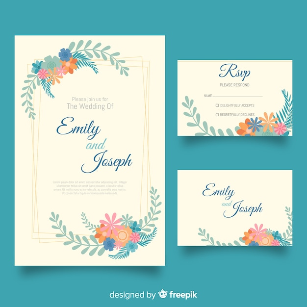 Flat wedding stationery template set Free Vector