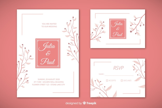 Flat wedding stationery template set Free Vector