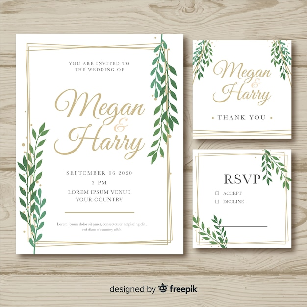 Flat wedding stationery template on wooden background Free Vector